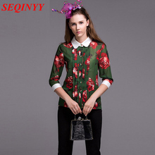 Print Blouse 2016 Summer New Classic Peter Pan Collar Three Quarter Sleeve Single Button