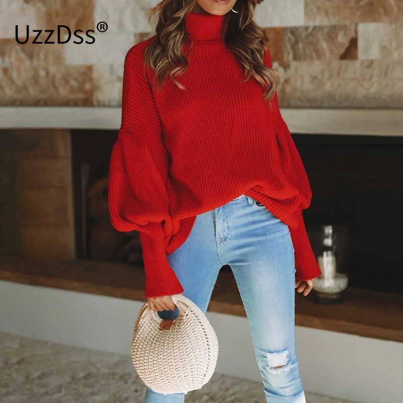 UZZDSS Turtleneck Red Winter Sweater Women Knit Lantern Sleeve White Sweater  Female Loose Oversized Pullover Knitted 5421f69f4