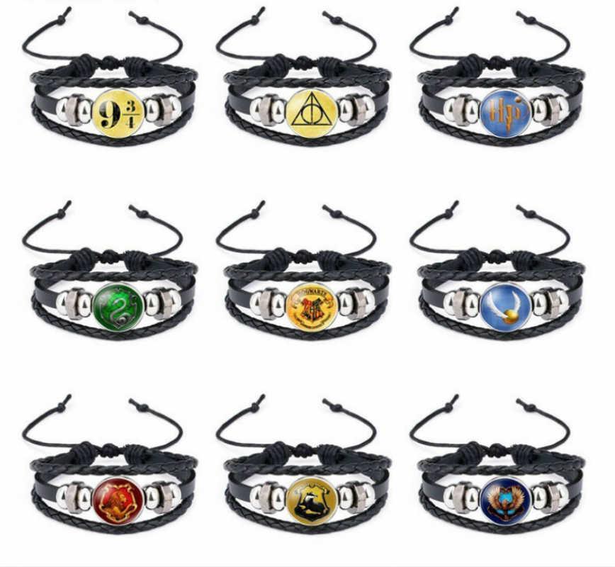 Para los Fans de H Potter Harry escuela Crest pulseras ajustables Cool pulsera mano cadena traje accesorios colgantes regalo