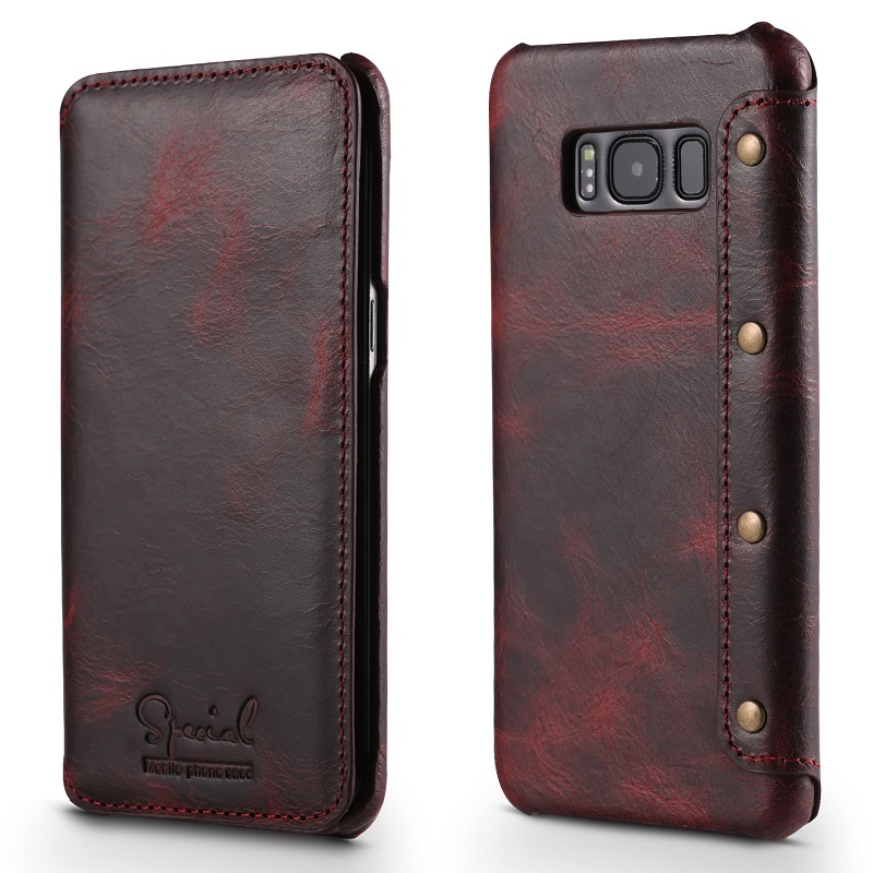 Wine red real leather case for samsung galaxy s8 genuine leather coverS
