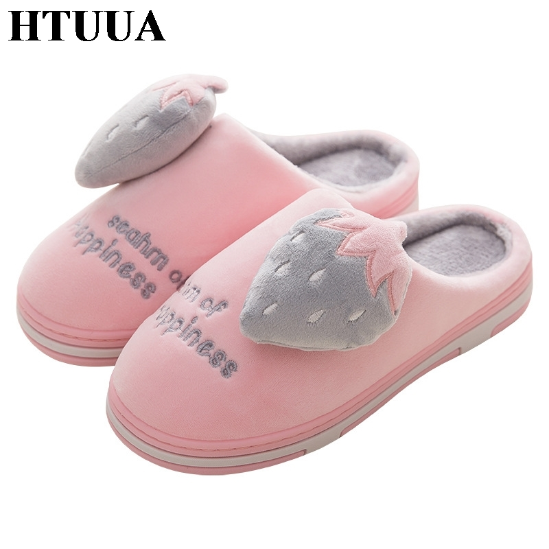HTUUA Indoor Slippers Unisex Couples Flat-Shoes Plush Winter Women Warm Cartoon Cotton