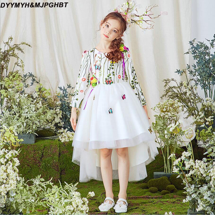 Butterfly Lace Long Sleeve Flower Girl Dresses O Neck Hi Lo White