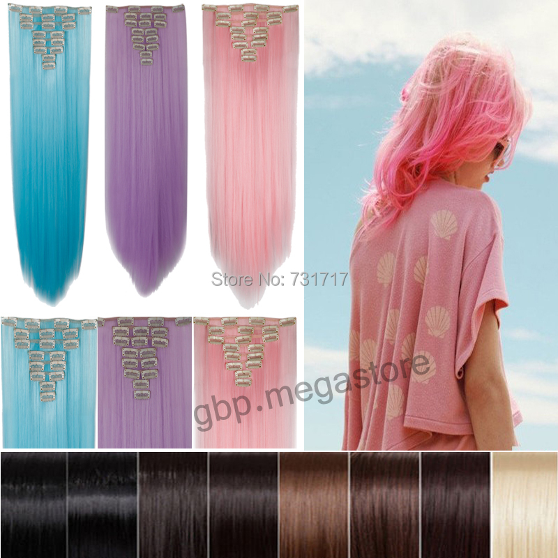 Halloween hair 26 lady full head clip in hair extensions cosplay halloween hair 26 lady full head clip in hair extensions cosplay pink purple sky blue free fast ship 18 clips cabelo sintetico on aliexpress alibaba pmusecretfo Images