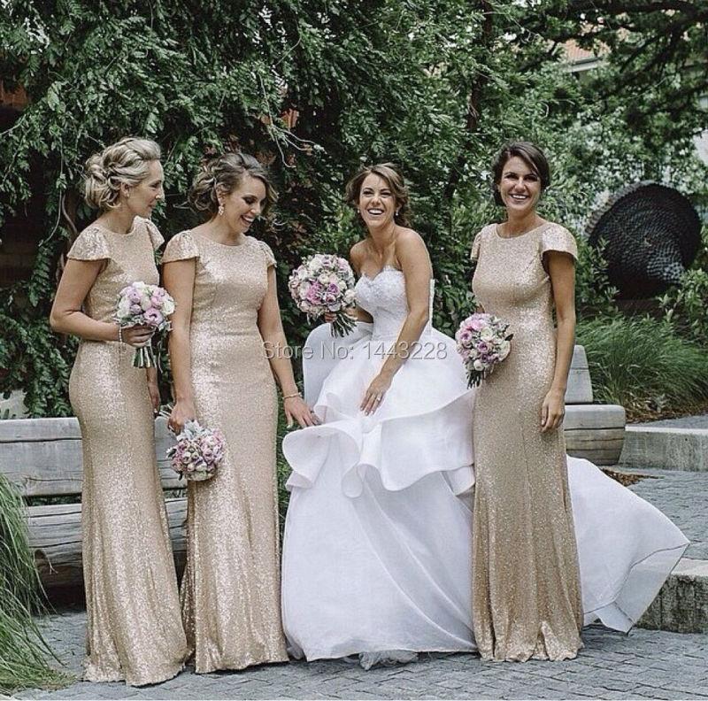 Popular Sequin Bridesmaid Dress Short Sleeve-Buy Cheap Sequin ...