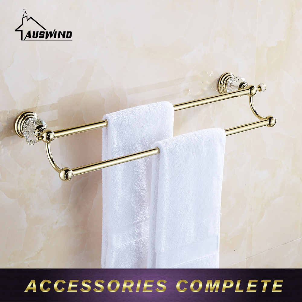 Luxury Bathroom Towel Rack Holder Sight Crystal Hangers Antique Towel Bar Wall Mounted Bathroom Accessories aluminum wall mounted square antique brass bath towel rack active bathroom towel holder double towel shelf bathroom accessories