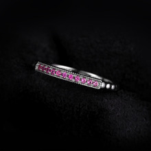 925 Sterling Silver Created Pink Sapphire Rope Band Stackable Ring Pink Sapphire for Women Engagement Ring On Sale