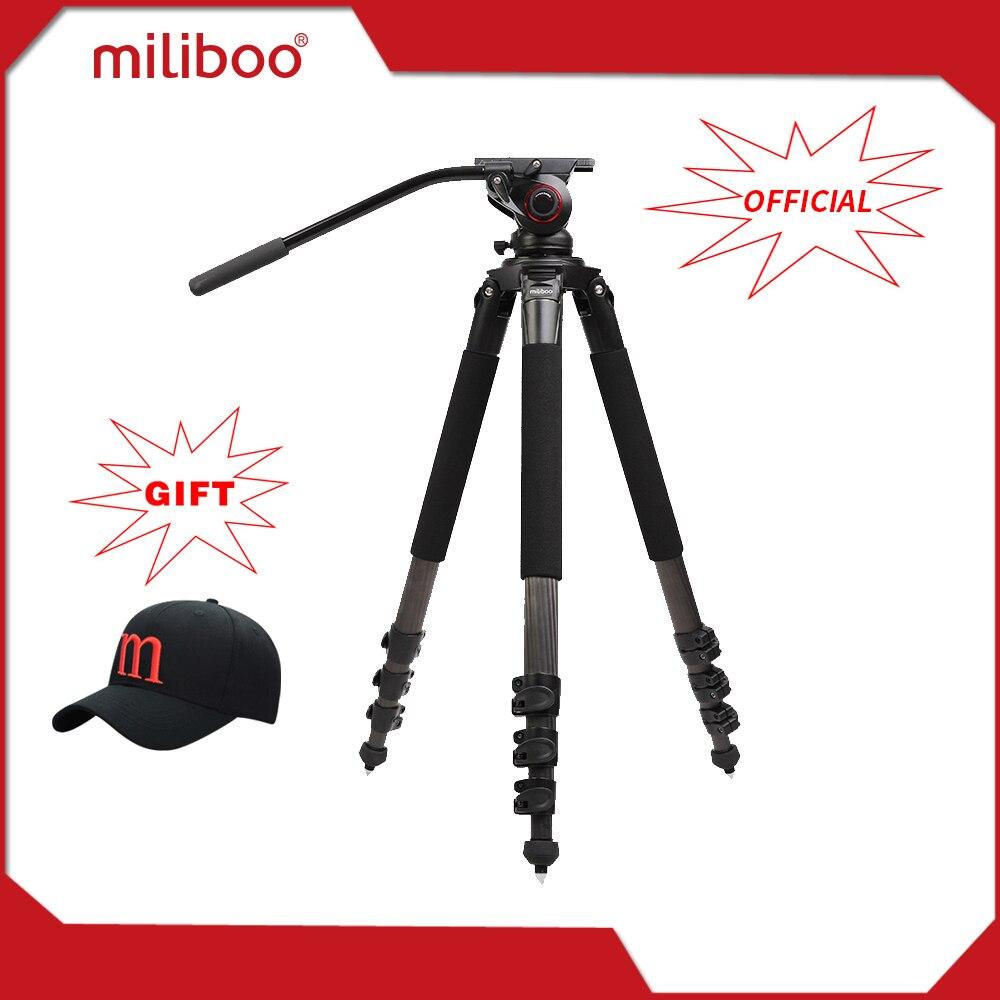 miliboo MTT702B Portable Carbon Fiber Tripod for Professional Camcorder/Video Camera/DSLR Tripod Stand,with Hydraulic Ball Head