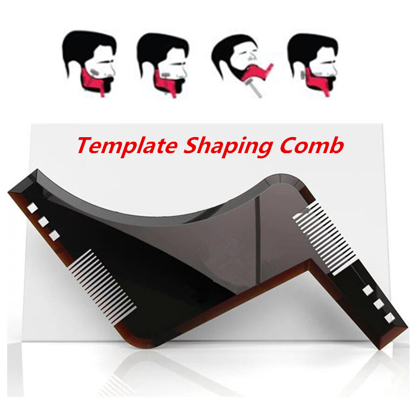 New 2019 Beard Shaping Template Shower Salon Beard Shaving Shave Shaping Style Styling Comb Care Brush Tool (Carton Packaging)