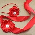 Flor roja del satén Sash y diadema con la perla Correa De La Flor de seda Del Vestido de boda Nupcial sash vestido de niña accesorios para el cabello