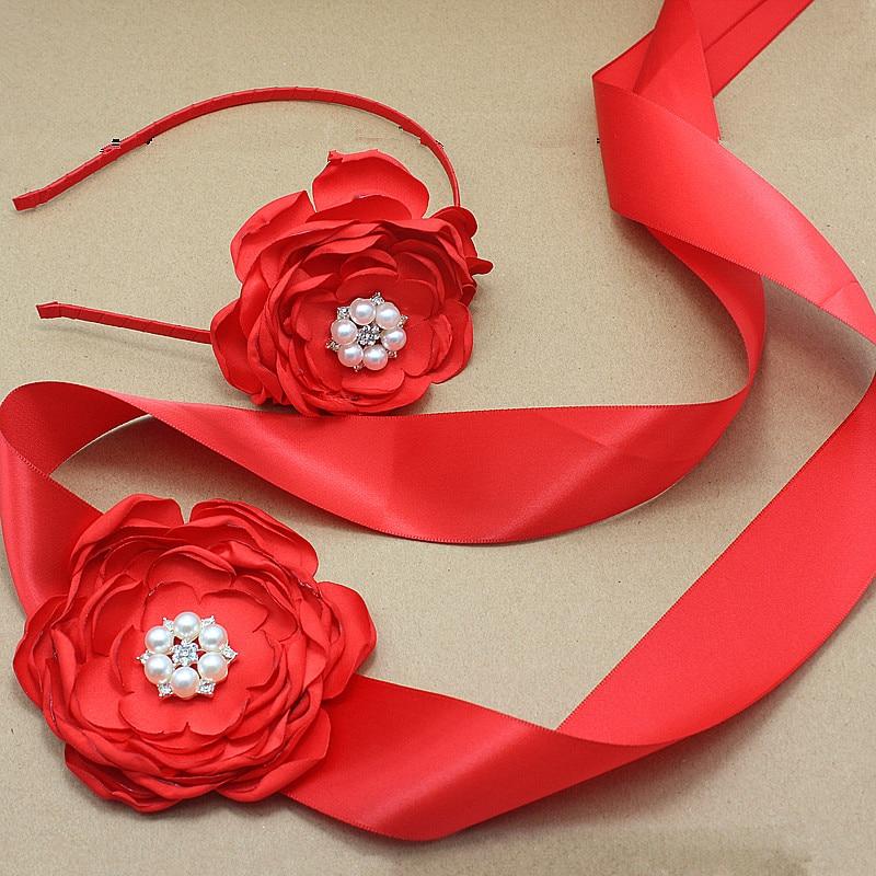 rdeča satena Cvetlični pas in naglavni trak z biserno poroko Poročna svila Cvetlični pas Obleka krilo dekle obleko dodatki za lase