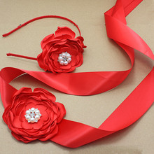 red satin Flower Sash and headband with pearl wedding Bridal silk Flower Belt Dress gown sash girl dress hair accessories