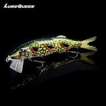 Купить с кэшбэком 50g 19cm Lurequeen Large Big 4-Segments Fishing Lures Minnow Crankbait 3D Eyes Life-like Tail Swimbait Jointed Hard Bait Wobbler