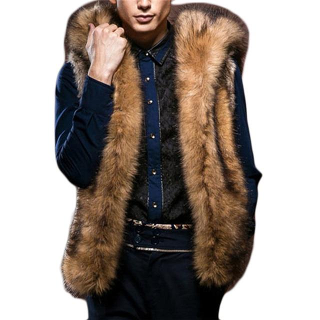 Man Warm Winter Faux Fur Hooded Vest Waistcoat Patchwork Sleeveless Slim Warm Inverno Colete De Pele Casacos Faux fur waistcoat