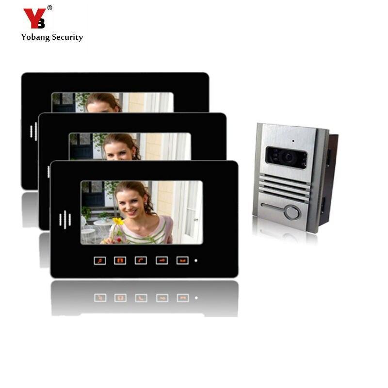 Yobang sécurité livraison gratuite 7 pouces écran tactile bouton intelligent interphone vidéo sonnette système de réponse pour appartement