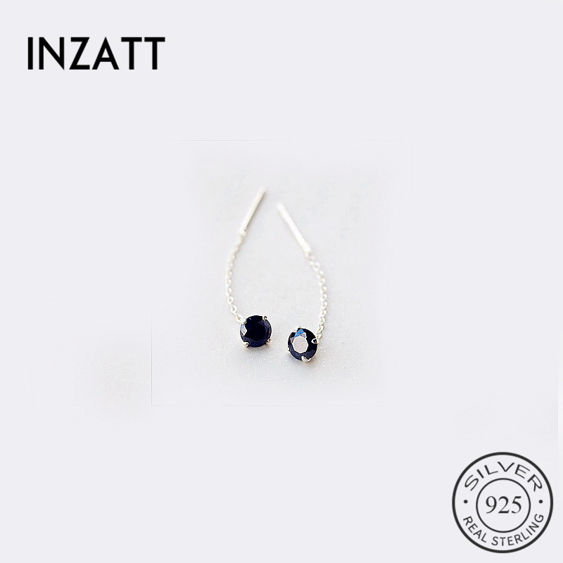 INZATT Cute 925 Sterling Silver Short Tassel Geometric Zircon Drop Earrings Five Colors Crystal Women Fine Jewelry Accessories