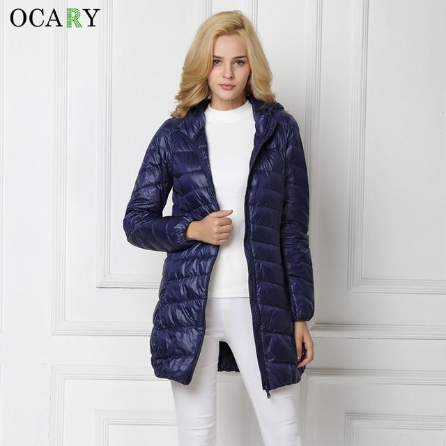 OCARY Mulher Qualidade Da Marca Casacos e Jaquetas de Inverno Meninas Pato Branco Quente Para Baixo Casacos Grossos Casaco com Chapéu Azul