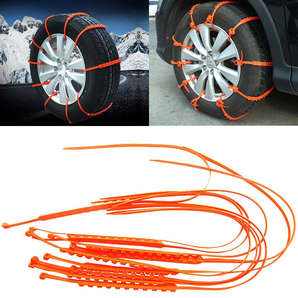 10pcs Anti-Skid Tire Chains Emergency Traction Car Winter Snow Rain Tyre Wheel Cable Ties