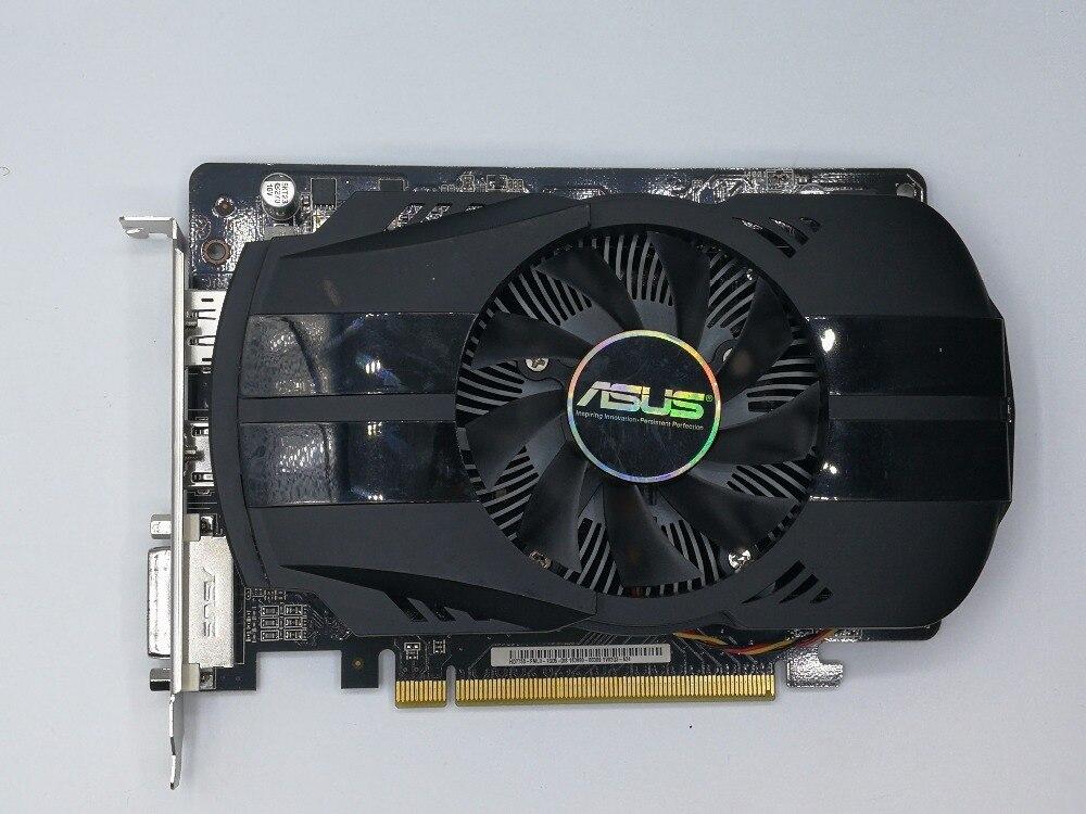 Используется, Asus HD7750 1 ГБ DDR5 128bit игровых настольных ПК Графика карты, 100% тестирование хорошо.