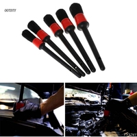 OOTDTY 5 Pcs Natural Boar Hair Detail Brush Set Automotive Detailing Brushes For Car Cleaning