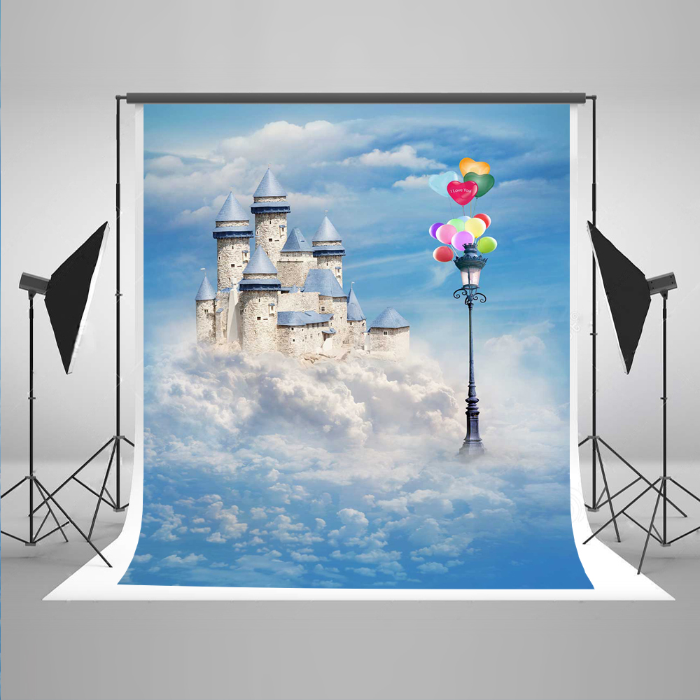 Color booth online - Newborn Photography Background Blue Sky Clouds Photo Booth Backdrops Color Balloon Castle Baby Background For Photography