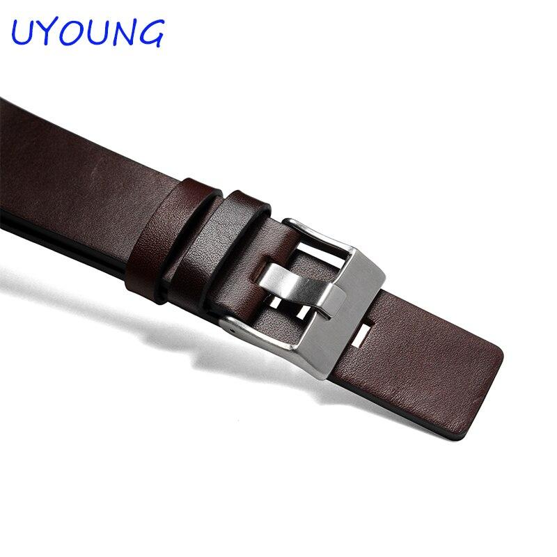 Pulseira de Couro Moda Genuíno Relógio Masculino 24mm 26mm 28mm 30mm Pulseira Marrom 22mm