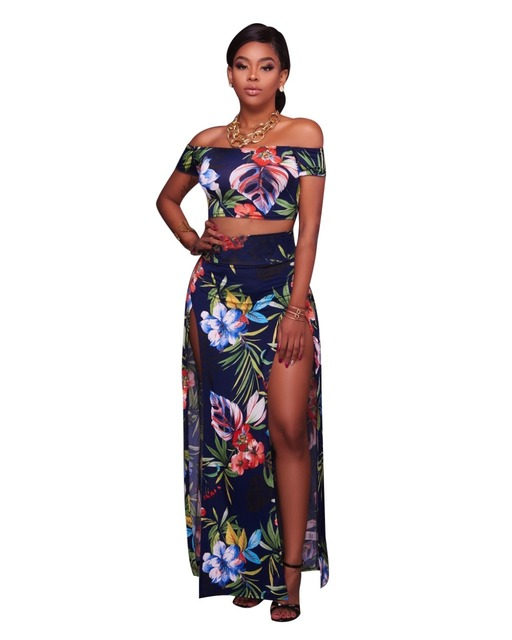 bbe283c57 Women Summer Long Bohemian Beach Print Skirts And Crop Tops New Fashion  Ladies Plus Size S