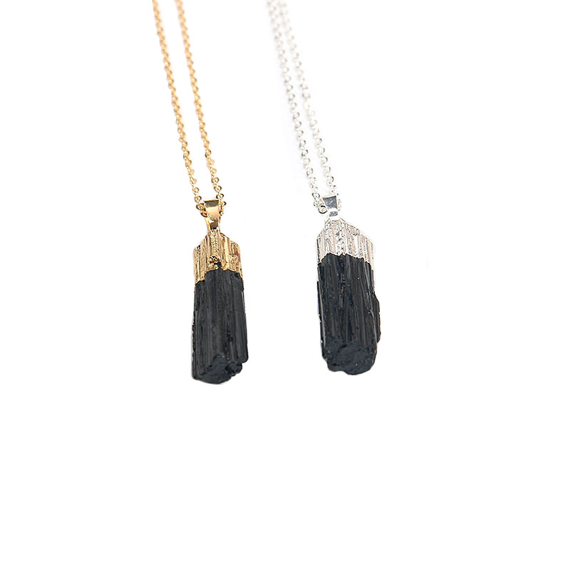 new gold silver color dipped black tourmaline pendant