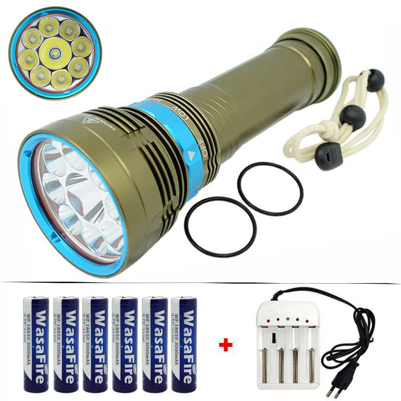 Diving Flashlight 18000 Lumen 7x / 9x XML L2 LED 100 Meters Diver Underwater Waterproof Torch Light Lamp Diving Scuba Flashlight l2 led 3800 lumen 100 meters underwater diving diver 18650 flashlight torch light lamp waterproof