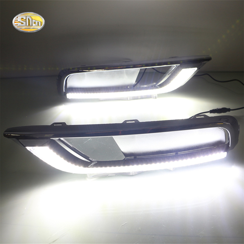 SNCN LED Daytime Running Lights for Honda CR-V CRV 2015 2016 DRL Fog lamp driving lights with yellow turning signal lights sncn led daytime running lights for volkswagen vw passat cc 2010 2011 2012 2013 drl fog lamp with yellow turning signal lights