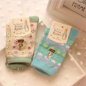 Image 4 - 10 pairs=1 lot Cute Cartoon Embroidery Stripe Peter Rabbit Tube Art Print Novelty Cotton 3D  Casual Japanese Socks MF748512