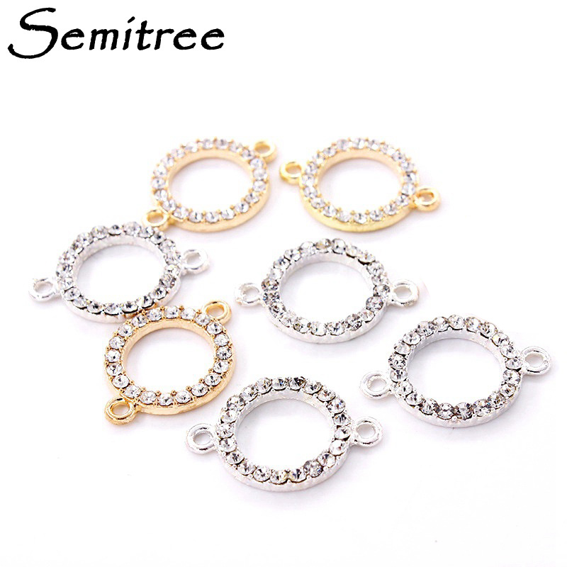 10pcs 16mm Round Clear Rhinestone Bracelet Connector Pendant Gold Plated Charms for DIY Handmade Crafts Jewelry Making Supplies