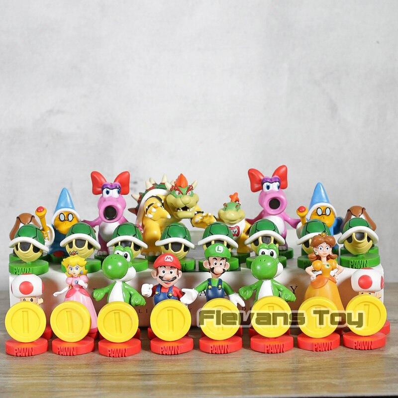 Super Mario édition Collector Mario Luigi crapaud pêche Yoshi Bowser figurines en PVC jeu d'échecs jouet de collection modèle cadeau d'anniversaire