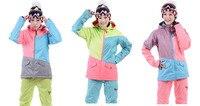 Женские лыжи пальто смешанные цвета сноуборд куртка Женская костюм лыжный костюм 10 К водонепроницаемый дышащий теплый зимний костюм