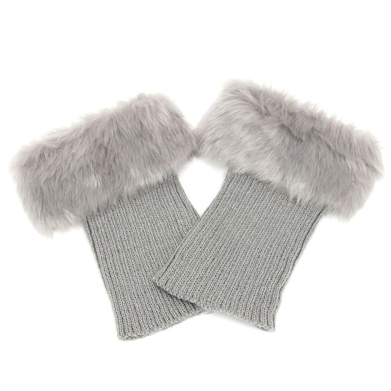 Горячая Распродажа, женские зимние меховые ножки гетры, мягкие сапоги из искусственного меха с манжетами, зимние носки под сапоги, модные аксессуары - Цвет: light gray