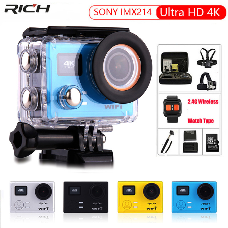 Action Camera Ultra HD 4K 30FPS 12MP Remote Control WiFi Built-in Gyro 170 degree wide angle lens Waterproof 45M Sport Camera 2017 arrival original eken action camera h9 h9r 4k sport camera with remote hd wifi 1080p 30fps go waterproof pro actoin cam