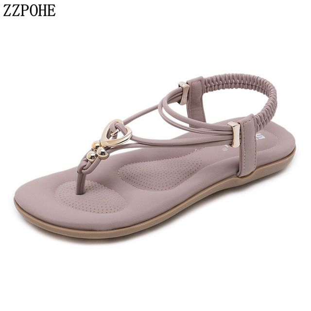 01dd7561041f ZZPOHE Summer woman Bohemian Fashion Flat Sandals Women s Casual Beach Sandals  Ladies Soft Leather Plus Size