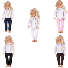 Doll Clothes White Stand Collar Long Sleeve Buttons Down Shirt +Tights Pants For 18 Inch American Girl Doll Best Gift(China)