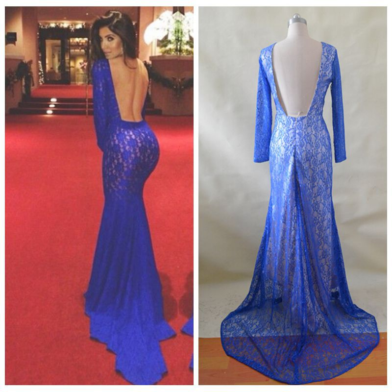 Mermaid High Collar Long Sleeves Court Train Backless Royal Blue ...