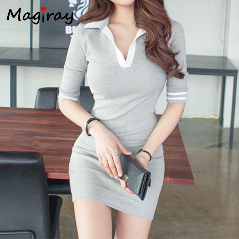 Magiray Half Sleeve Polo Collar Mini Dress Bodycon Casual Summer Lady T Shirt Dress Vestidos Robe Femme 2020 Sexy Contrast C172 5