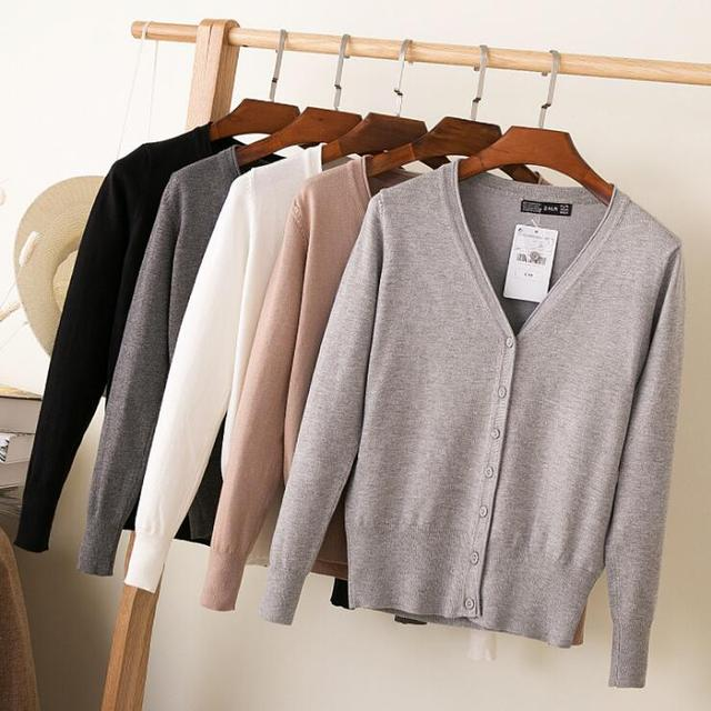 Queechalle 28 Colors knitted cardigans spring autumn cardigan women casual long sleeve tops V neck solid women sweater coat 4