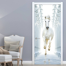 2 Pieces/Set Self-Adhesive Door Sticker 3D White Horse Wallpaper Living Room Bedroom Home Decor Wall Decals PVC Stickers