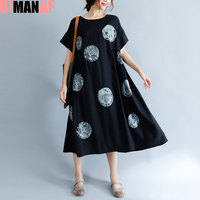 DIMANAF Plus Size Summer Style Dress Women Cotton Vintage Polka Dot Female Dress Casual Black Stylish