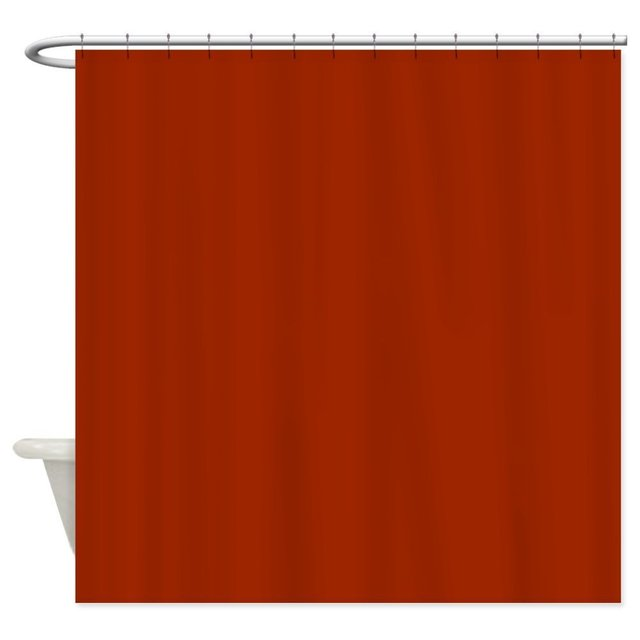 Solid Burnt Orange Decorative Fabric Shower Curtain 8 Sizes For The Bathroom With 12 Hooks