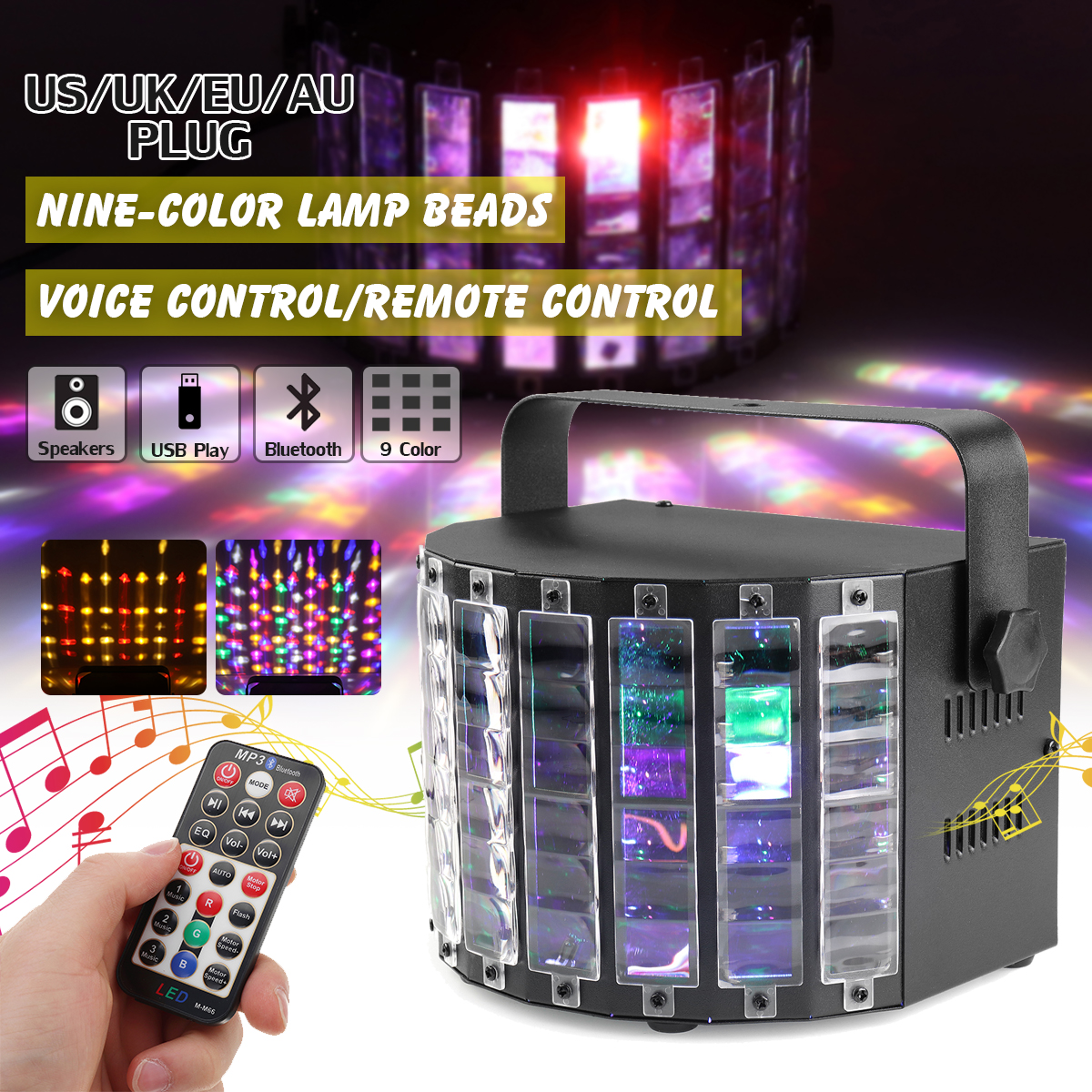 9 Color LED DJ Stage Lighting Effect Light Voice/Remote Controller RGB Disco Lamp Sound Activated DJ Stage Light