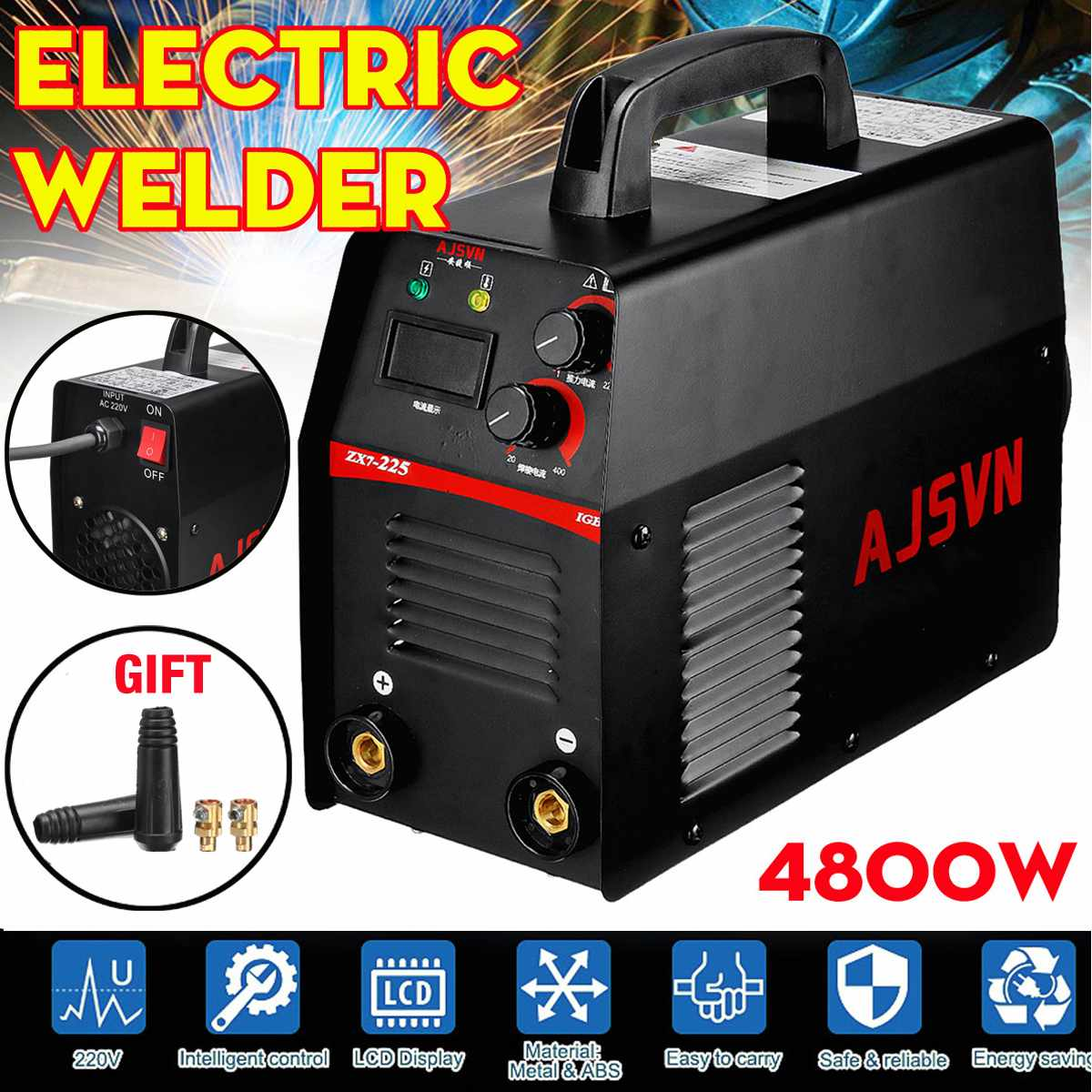 220V 20-225A Mini MMA Handheld Digital Electric IGBT Welder-Inverter MMA/ARC Welding Soldering Machine Tool 4800W220V 20-225A Mini MMA Handheld Digital Electric IGBT Welder-Inverter MMA/ARC Welding Soldering Machine Tool 4800W