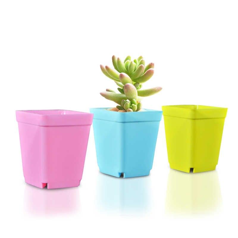 Yang Sesuai dengan Tray Plastik Taman Pot Bunga Warna Square Pot Kecil Multi Daging Plastik Pot Kecil Tanaman Bibit Pot