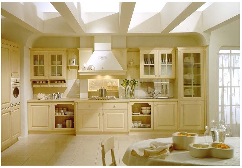 American Classic Kitchen Cabinets With Tempered Glass Door