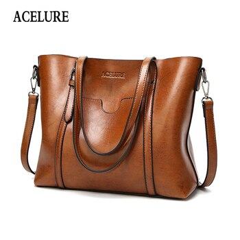 ACELURE/женская сумка из воска масла, женские кожаные сумки, роскошные женские сумочки с карманом, женская сумка-мессенджер, большая сумка-тоут