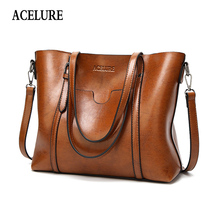 ACELURE Women bag Oil wax Womens Leather Handbags Luxury Lady Hand Bags With Purse Pocket Women messenger bag Big Tote Sac Bols cheap Zipper Solid Open Pocket Soft Cell Phone Pocket Interior Slot Pocket Interior Zipper Pocket Single Fashion Totes Casual Tote