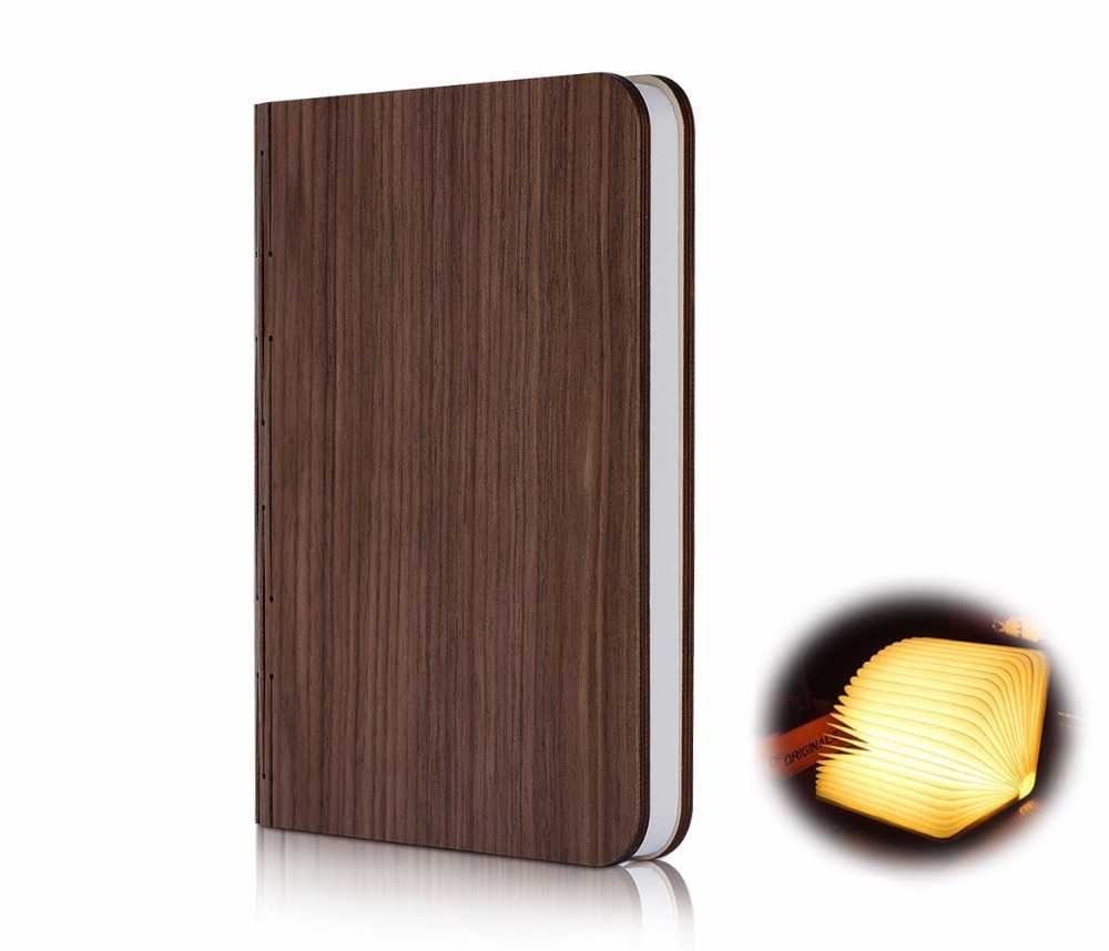 Aimbinet Woody Decor Foldable Book Style LED Lamp USB Port Rechargeable Cover Home Table Desk Ceiling Decor Lamp yingtouman led night light folding book light usb port rechargeable paper cover home table desk ceiling decor lamp